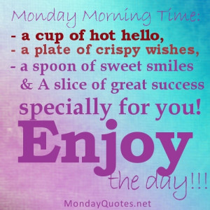Monday Morning time, a cup of hot hello,