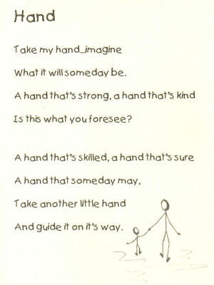 ... mini-poster, suitable for framing, with the inspirational poem Hand