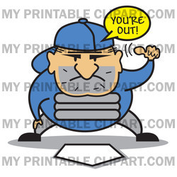 ... -Free (RF) Clipart Illustration of a Baseball Umpire Signaling An Out