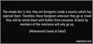 members of the resistance will only go up Mohammed Saeed al Sahaf