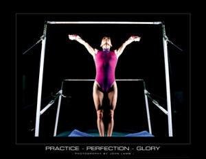 ... Gymnastics Practice-Perfection-Glory (Uneven Bars) Motivational Poster