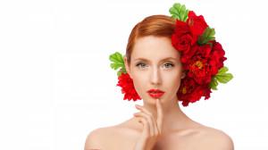 Woman Red Rose Bun wallpaper