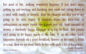 For most of life, nothing wonderful happens. If you don't enjoy ...