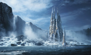 snowstorm, panorama flow, river water ice cathedral surreal digital ...