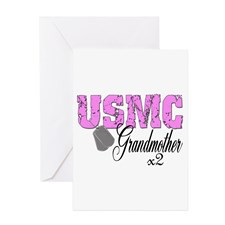 USMC Grandmother x2 Greeting Card for
