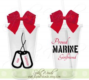 Marine Girlfriend Facebook Covers Proud marine girlfriend 16 oz.