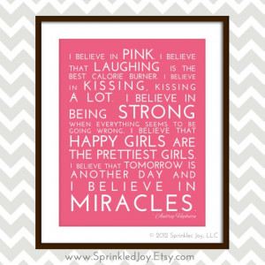 Believe in Pink - Audrey Hepburn Inspirational Quote, Modern 8x10 ...
