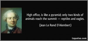 High office, is like a pyramid; only two kinds of animals reach the ...