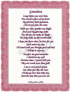 Free Happy Birthday Grandson Cards | Grandson poem is for the grandson ...
