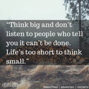 "... can't be done. Life's too short to think small."" – Tim Ferriss"