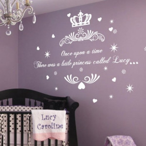 ... Once upon a Time Princess Name Art Wall Quotes Wall Stickers White