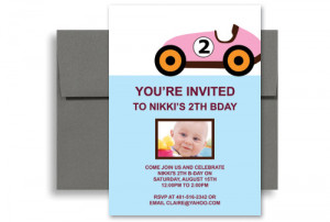 Two Year Old Girl Pink Car Blank Birthday Invitation 5x7 in. Vertical