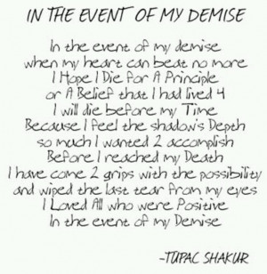 In the event of my demise..