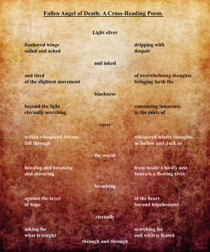 Fallen Angel of Death: A Cross-Reading Poem by Katy133