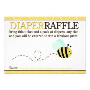 Bumble Bee Shower Diaper Raffle Card Custom Invitations