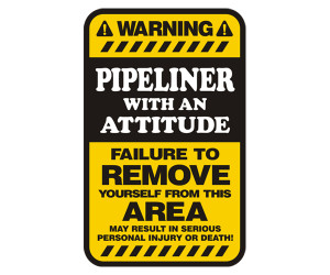 Details about Pipeliner Warning Attitude Yellow Decal 5
