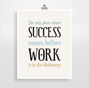 Inspirational Quote, Office Decor, Success Quote, Typography Poster