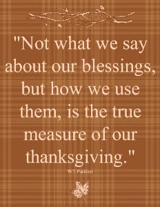 How We Use Our Blessings Printable Thanksgiving Quote