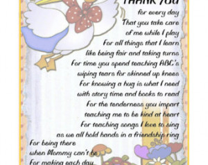 ... THANK-YOU Poem Gift To Their Daycare Provider Childcare Nanny