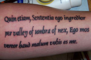 This spiritual tattoo created in bold and neat font makes for an