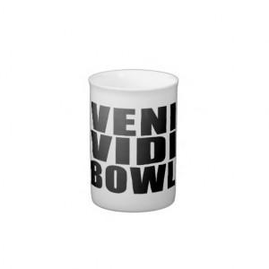 Funny Bowling Quotes Jokes : Veni Vidi Bowl Bone China Mug