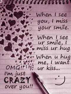 When I See You, I Miss Your Smile. When I See Ur Smile, I Miss Ur Hug ...