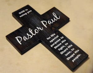 Pastor appreciation gift -Personalized Pine Wood Cross with Quote ...