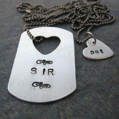 SIR and pet Necklace Set, aluminum dog tag, tiny heart necklace ...