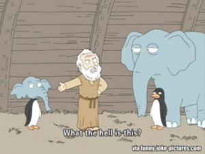 Funny Noah's Ark Elephant Penguin Cartoon Joke Picture Image - What ...