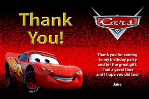 Disney Cars Thank You - Lightning McQueen
