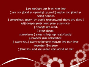 You Mean The World To Me Quotes Let me just put it on the line