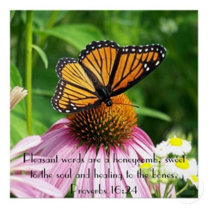 butterfly flower proverbs bible verse reminder poster