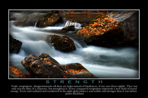 ... strength inspirational motivational poster waterfall river stream