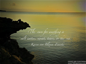 """The Cure For Anything Is Salt Water, Sweat, Tears Or The Sea """""""