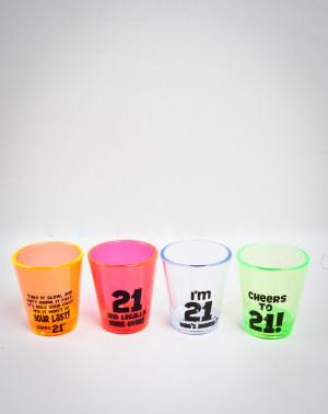 21st Birthday Shot Glass 4 Pk