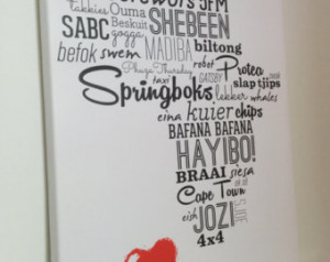 Africa Typography Canvas: I Love Africa - South Africa & Namibia slang