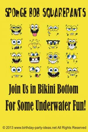 Spongebob Squarepants Birthday Party Invitation Wording