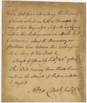 ABRAHAM CLARK 1726 1794 AUTOGRAPH DOCUMENT SIGNED CONTROVERSIE SIC