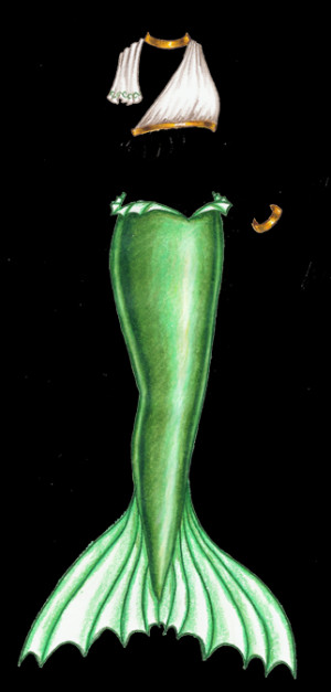 mermaid-monday-13-green-mermaid-tail-with-white-and-gold-top-and ...