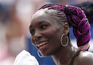 Venus Williams sporting the fancy purple hair at the U.S. Open ...