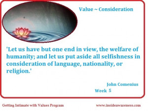 ... with Values - Daily Quote Reflection on Consideration - Week six - 7