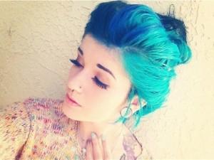 Aqua blue hair bun