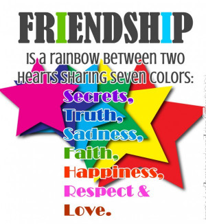 ... Rainbow between Two Hearts Sharing Seven Colors ~ Friendship Quote
