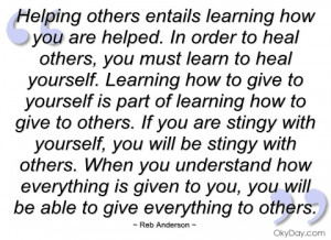 helping others entails learning how you