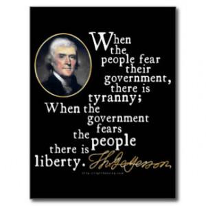 Jefferson Tyranny-Liberty Quote Postcards