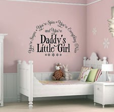 Daddy's Little Girl Sugar & Spice Vinyl Wall Art Quote, Sticker,Decal