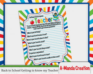Back to School Getting to know your teacher printable fill in gift ...