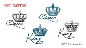 ... King and Queen crown alphabetical men waterproof tattoo stickers Lynx