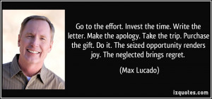 Go to the effort. Invest the time. Write the letter. Make the apology ...