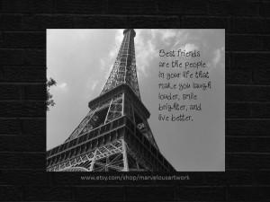 Best Friend Paris Framed Quote Print Printable by MarvelousArtwork.com